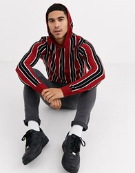 Brave Soul Vertical Stripe Knitted Hoodie Red