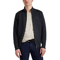 Inis Meain Zip Front Linen Cardigan Charcoal