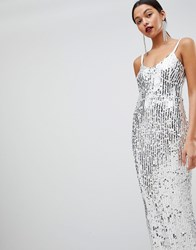 Club L Mermaid Silver Sequins Strappy Fishtail Detailed Maxi Dress White Silver