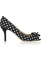 Oscar De La Renta Nicbow Polka Dot Canvas Pumps Black