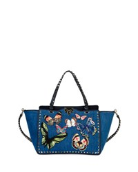 Valentino Butterfly Rockstud Denim Tote Bag Navy
