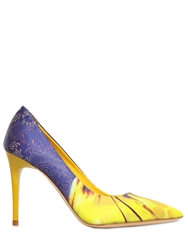 Elena Iachi 90Mm Printed Cotton Satin Pumps Yellow Purple