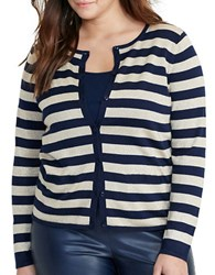 Lauren Ralph Lauren Plus Striped Metallic Cardigan Navy Gold