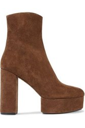 Alexander Wang Cora Suede Platform Ankle Boots Light Brown