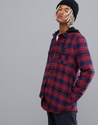 Volcom Field Ins Hooded Flannel In Red
