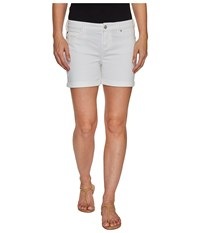 Liverpool Vickie Shorts Rolled Cuff In Stretch Peached Twill In Bright White Bright White Women's Shorts