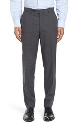 Ted Baker Men's London Flat Front Check Wool Trousers Grey