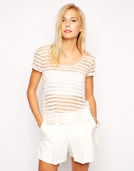 Love Longline T Shirt In Burn Out Stripe White