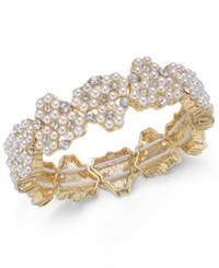 Charter Club Gold Tone Crystal And Imitation Pearl Stretch Bracelet Created For Macy's