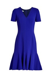 Oscar De La Renta Flared Hem Wool Blend Crepe Dress Blue