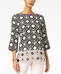 Alfani Petite Contrast Hem Tunic Created For Macy's Painted Grid