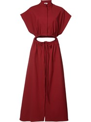 Rosie Assoulin A Line Drawstring Dress Women Cotton Spandex Elastane Polyimide 4 Red