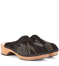 Saint Laurent Studded Suede Clogs Black