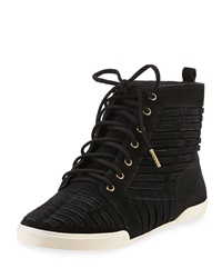 Elliott Lucca Rima Woven Suede High Top Sneaker Black