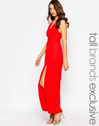 True Decadence Tall Wrap Front Maxi Dress Red