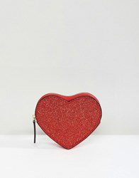 Asos Valentines Glitter Heart Coin Purse Red