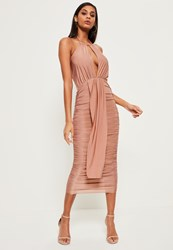 Missguided Pink Slinky Keyhole Ruched Midi Dress