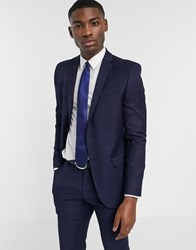 Ben Sherman Navy Windowpane Check Slim Fit Suit Jacket