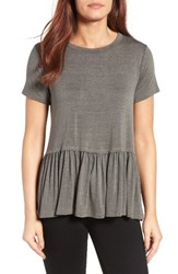 Bobeau Women's Short Sleeve Peplum Tee Charcoal