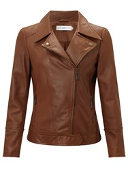 John Lewis Betsy Leather Biker Jacket Tan