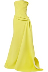 Maticevski Opera Strapless Gathered Cady Gown Yellow