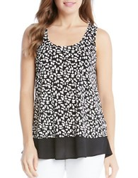 Karen Kane Plus Optic Bloom Sheer Hem Tank Top Black