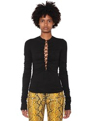 Unravel Lace Up Viscose Jersey Top Black