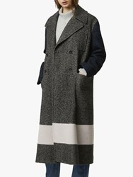French Connection Tweed Long Peacoat Salt Pepper