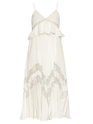Self Portrait Amelia Lace Panelled Pleated Dress White