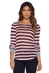 Candc California Stripe Long Sleeve Top Navy
