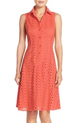 Women's London Times Eyelet Fit And Flare Shirtdress