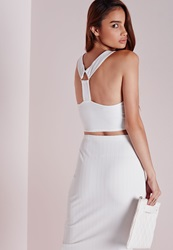 Missguided Triangle Ring Bandage Crop Top White White