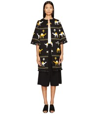 Kate Spade Spice Things Up Embroidered Camel Coat Black Multi Women's Coat