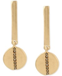 Kenneth Cole New York Gold Tone Pave Bar Disc Drop Earrings Black