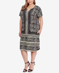Lucky Brand Trendy Plus Size Scarf Print T Shirt Dress Black Multi