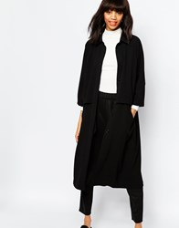 Monki Oversized Button Up Coat Black