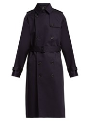 A.P.C. Greta Double Breasted Cotton Trench Coat Dark Navy