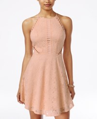 Material Girl Juniors' Cutout Lace Fit And Flare Dress Only At Macy's Pale Blush