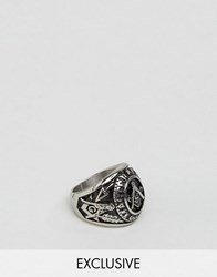 Seven London Chunky Symbol Ring In Silver Exclusive To Asos Silver
