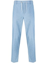 Maison Kitsune Tapered Drawstring Trousers Blue