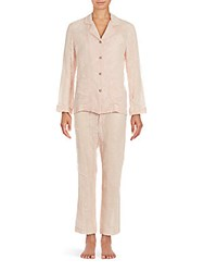 Valentino Embroidered Lace Two Piece Shirt And Pajama Pants Set Pink