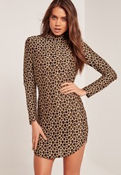 Missguided High Neck Long Sleeve Leopard Print Bodycon Dress Multi