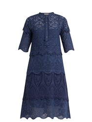 Queene And Belle Arabella Broderie Anglaise Cotton Dress Navy
