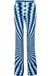 Mary Katrantzou Thoukis Printed Silk Twill Flared Pants Turquoise