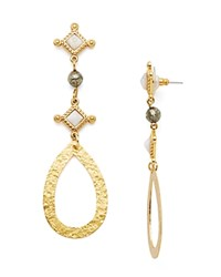 Stephanie Kantis Medallion Hammered Teardrop Earrings Gold Mother Of Pearl