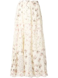 Polo Ralph Lauren Floral Flared Midi Skirt Nude And Neutrals