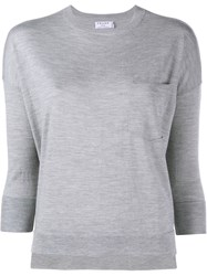 Frame Denim Le Crew Wool Cashmere Blend Sweater Grey