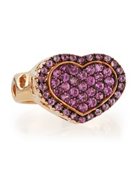 Nanis 18K Rose Gold Pink Sapphire Heart Ring Size 7.5
