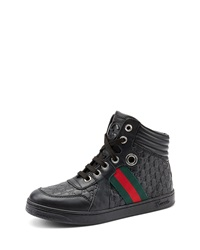Gucci Junior Leather High Top Sneaker With Web Detail Black