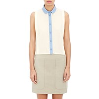 Harvey Faircloth Sleeveless Shirt Cream W Blue